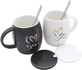 Hodify Coffee Couple Mugs Set, 15oz Ceramic Matte Black&White Couple Cups with Matching Spoon, Wedding Gift Birthday Present for the Couple, Newlyweds Engagement, Bride and Groom (i love you stye))