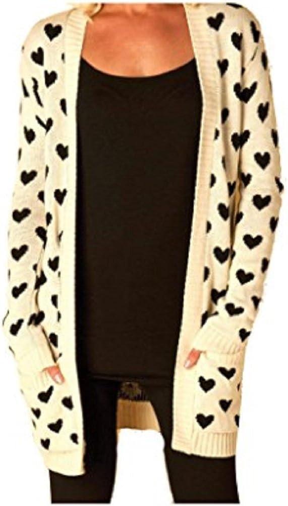 OgLuxe Women's Aztec Heart and Leopard Print Knitted Boyfriend Cardigans Size 4-22