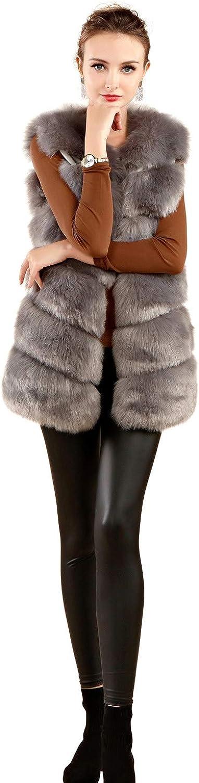 FOLOBE Womens'Soft Faux Fur Vest Adult Waistcoat Jacket
