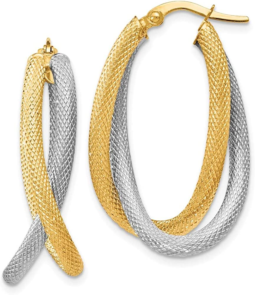 14k Two Tone Yellow Gold Textured Hoop Earrings Ear Hoops Set Fine Jewelry For Women Gifts For Her