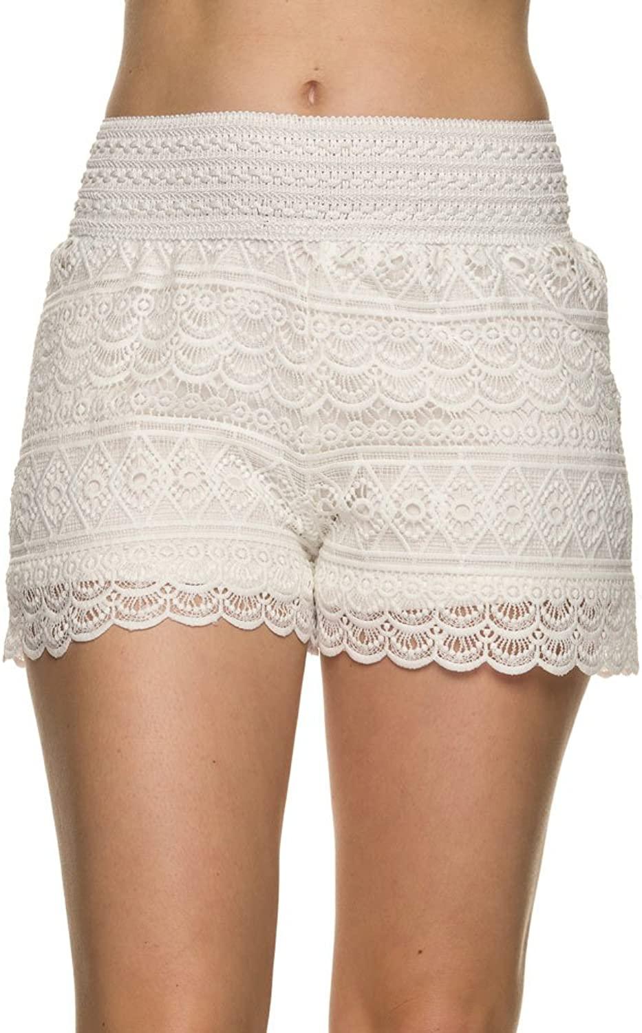 Bellarize Women's Crochet Shorts with Scallop Edge and Inner Lining