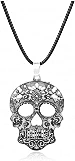 Womens Pendant Necklace Fashion Classic Mexican Sugar Skull Necklace Day of The Dead Skeleton Pendant Necklace Men's Charm Jewelry Gifts