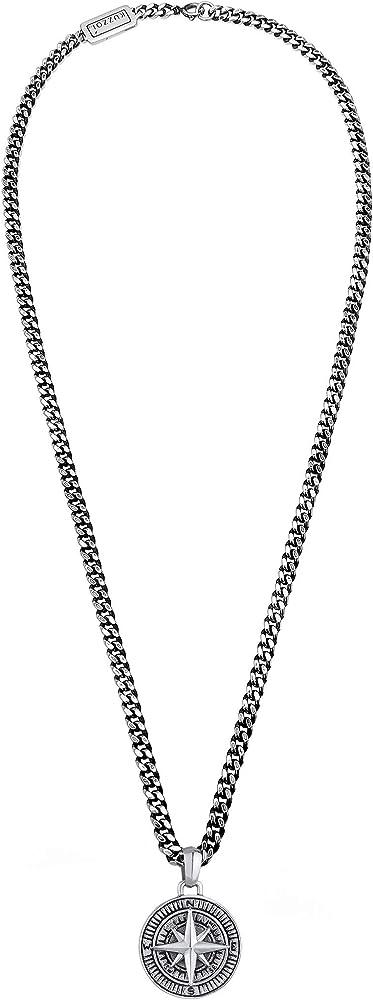 Kuzzoi,collana da uomo in argento sterling 925 ossidato, con ciondolo a bussola 0112671018_50
