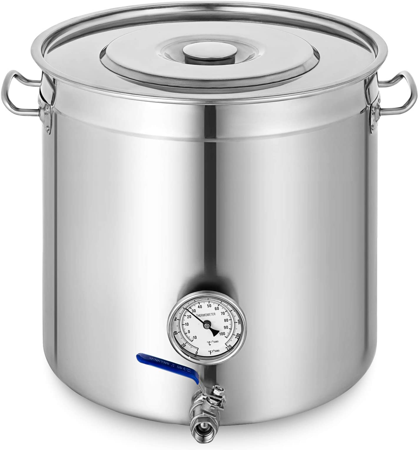 Mophorn Kettle Stockpot Stainless Steel 12.5 Gal with Lid and Thermometer for Home Brew and Stock Pot Cookware 50 Quart