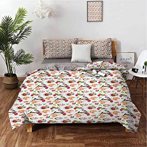 Comfortable three-piece bedding, 3 piece set, 1 quilt cover, 2 pillows Vintage Retro Mothers Day Themed Tea Time British Inspired Teapots and Flowers Super soft and breathable King(104'×90') Pill