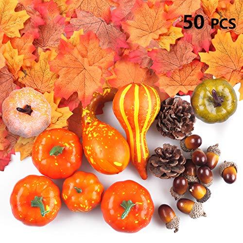 FUNVCE 50 Stück Künstliche Kürbisse Herbst Herbst Dekorationen, Halloween Mini Gefälschte Ernte Kürbisse Tannenzapfen Ahornblätter Eicheln Granatapfel für Thanksgiving Home Party Supplies