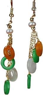 yigedan Natural Gem Dangle Hoops 3 Colors Jade Pearl Drop Earrings for Women Girls 14K Unique Handmade Jewelry
