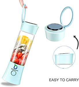 Diwenhouse Portable Blender USB Rechargeable Juicer Cup - Personal Size 16 oz Juice Glass Shakes Wireless BPA Free Blue Including Metal Reusable Straws