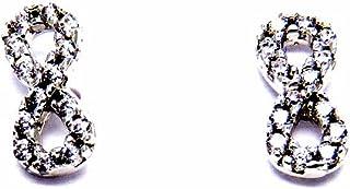 Pegaso Joyería–Pendientes oro blanco 18kt Infinito con circonitas–Pequeños a Lobo mujer niña niña