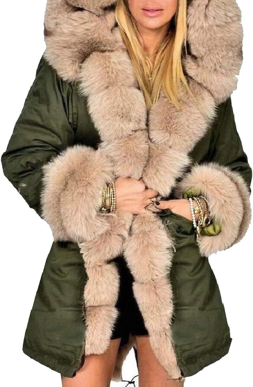 LEISHOP Women's Coat Hood Parka Overcoat Faux Fur Parka Jacket Outwear