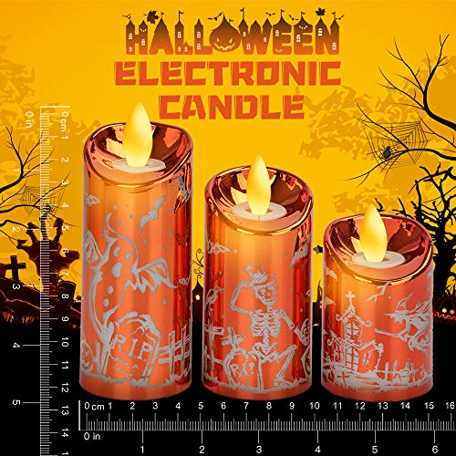 Halloween Candles Flickering Flameless Candles Battery Operated LED Candles Set of 3 Witch, Ghost,...