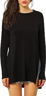 Women's Round Neck High Low Hem Split Side Casual T-Shirt