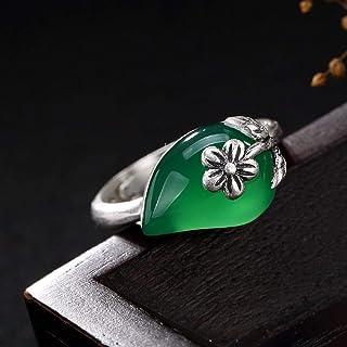Lozse Anelli regolabili Goffrato opaco retrò di S990 Sterling argento gioiello intarsiato signora anello di prugna