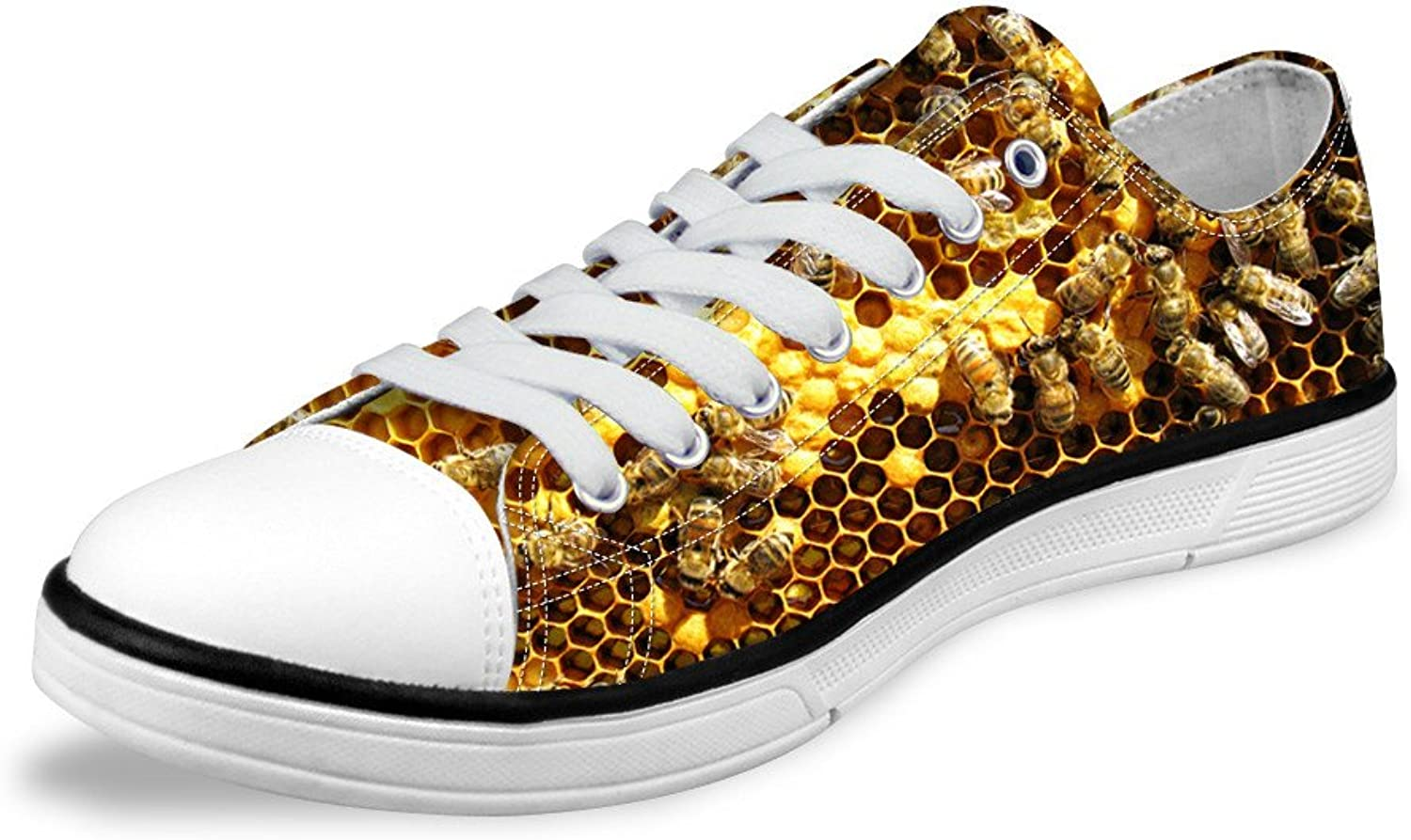 Micandle Funny Bee Pattern Men Fashion Low Top Canvas shoes Whute Sneakers
