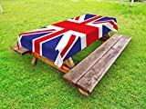 Ambesonne Union Jack Outdoor Tablecloth, Classic Traditional Flag United Kingdom Modern British Loyalty, Decorative Washable Picnic Table Cloth, 58' X 104', Blue Red