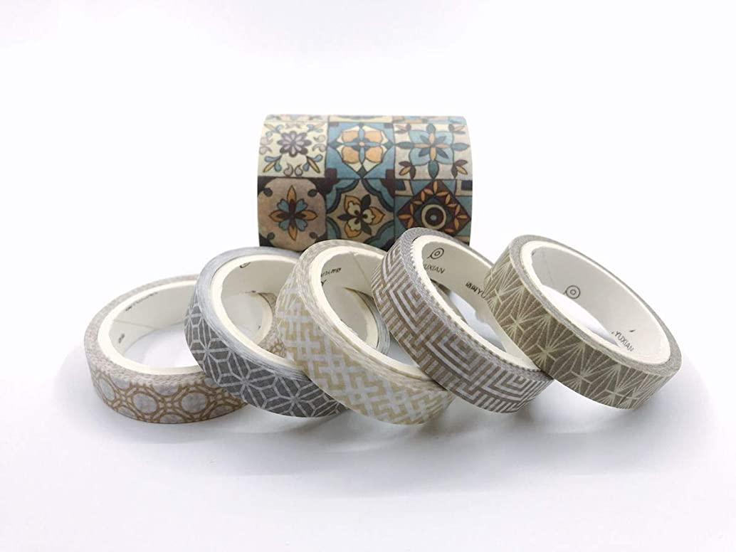 Roman and Portuguese Tiles washi Tape Set. Incl Extra Wide. for scrapbooks, Crafts, Party Decor, Gift Wrapping, Wall Borders, and Decorating