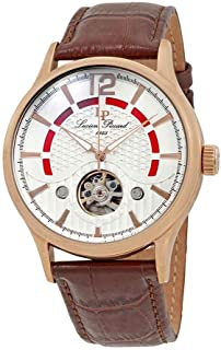 Men's Transway Stainless Steel Automatic-self-Wind Watch with Leather Calfskin Strap, Brown, 24 (Model: LP-15038-RG-02S)