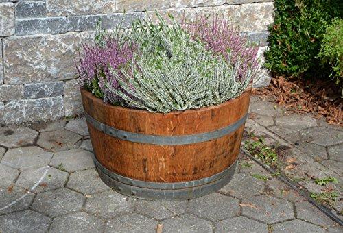 Holzfass als Pflanzkübel, Weinfass halbiert geölt (D70 cm) (Schlaufen + Rollen + Bohrungen)