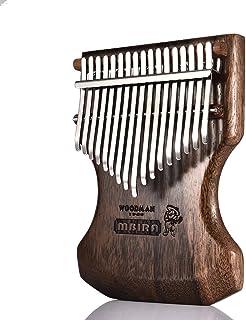 Qnlly 17 Clave Calimba, Solid Negro sándalo Cuerpo Kalimba Mbira Pulgar Piano w Suave del Bolso/Teclado de Piano Instrumento