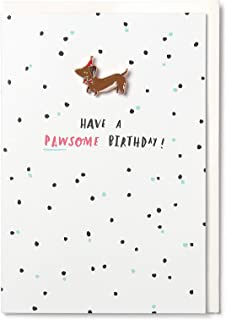 Hotchpotch Have A Pawsome - Tarjeta de cumpleaños con pin esmaltado