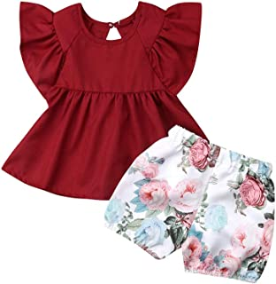 Xiaodriceee Toddler Baby Girl Clothes Short Sleeve Ruffle Dress Top+Floral Shorts Pants 2Pcs Outfits Set