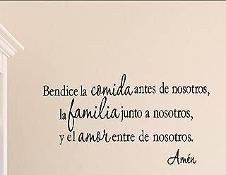 Vinyl Quote Me Bendice la comida Antes de nosotros, la Familia Junto a nosotros. Spanish Vinyl Wall Saying Quote Words Decal