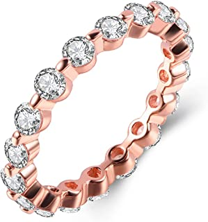 Rose Gold White Gold Plated 3ct CZ Solitaire Halo Rings Stackable Eternity Band Ring Set for Women, Pretty Round Simulated Diamond AAA Cubic Zirconia Jewelry Size 5-10