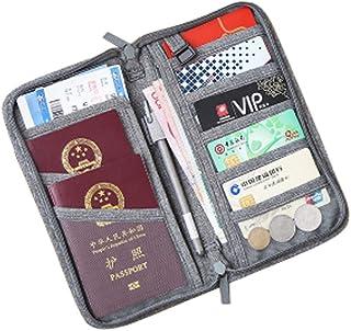 BeneAlways Versatile Passport Wallet Portable Passport Cover Passport Bag with Pockets (Grey)