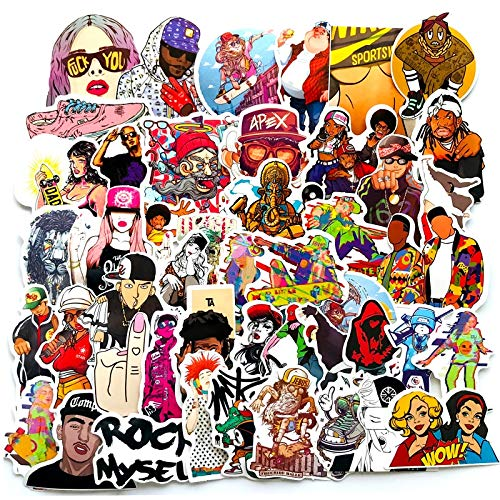 FSVGC Hip-Hop Rap Graffiti Stickers Singer Decals Luggage Suitcase Waterproof Scooter Waterproof Stickers 48 Pieces