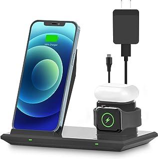 「USB充電器セット」NANAMI 3in1 ワイヤレス充電器 Qi急速 (PSE認証済み) iPhone 12/12 Pro/SE (第2世代) /11/11 Pro/Xs/XR/Xs Max/X/8/8 Plus、AirPods 2/Air...
