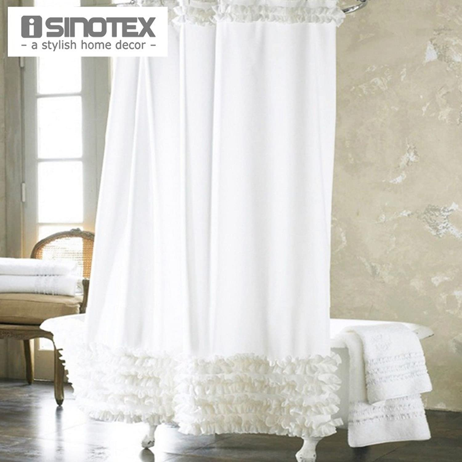 White, W180 x H200cm   Home Decoration Bathroom Shower Curtain Waterproof Moldproof Solid Polyester Fabric Lace Bath Curtain Elegant Cortina +12 Hooks