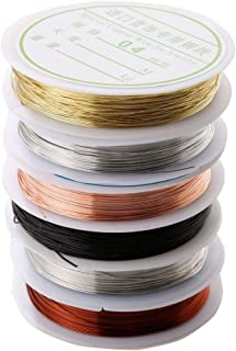 Ausering 6 Roll Beading Wire for Jewelry Making Supplies and Craft Bangle Bracelet Making Wire Colorful