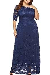 9eae4083e Eternatastic Womens Floral Lace 2/3 Sleeves Maxi Dress Plus Size Evening  Party Dress