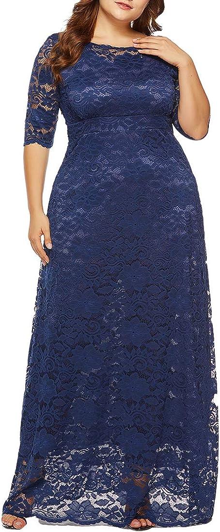 Surprise price Eternatastic Womens Floral Lace 2 Al sold out. 3 Size Plus Maxi Dress Sleeves