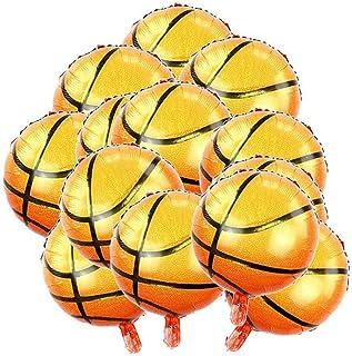 BinaryABC Basketball Mylar Foil Balloons,Sports Theme Party Supplies,10Pcs(18 Inch) (Basketball-1)