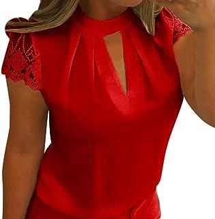 lotus.flower 2018 Women Briefs Casual Shirt Chiffon Short Sleeve Splice Lace Crop Top Blouse (L, Red)
