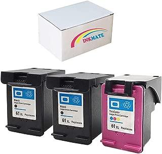 INKMATE 3 Pack 61XL (2Black & 1Tri-Color) Ink Cartridge Replacement for Deskjet 1010 1510 2514 2540 Envy 4505 5530 Printers