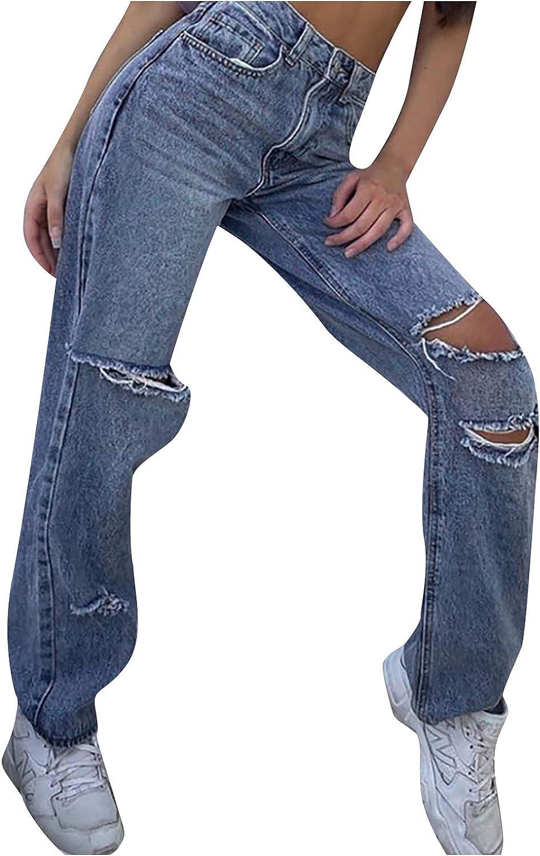 Women's Frayed Ripped Boyfriend Jeans Mid De Austin Mall Wide Limited time sale Rise Leg Loose