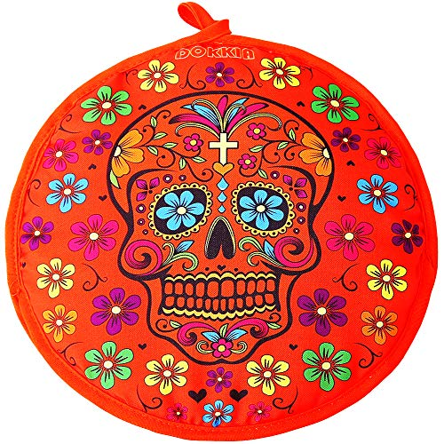 LEONAL Tortilla Warmer Taco 12 Inch Insulated Pouch Cloth - Microwave Use Fabric Bag to Keep Food Warm for up to One Hour (12 Inch, Sugar Skull Fiesta Floral Day of The Dead)