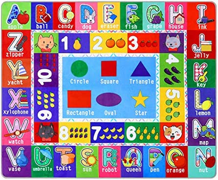 Partykindom Kids Play Rug Mat Playmat with Non Slip Design Playtime Collection ABC Numbers Shapes product image