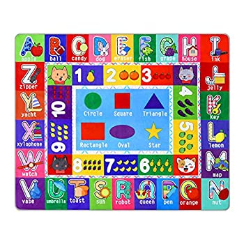 PartyKindom Kids Play Rug Mat Playmat with Non-Slip Design Playtime Collection ABC Numbers Shapes and Animals Educational Area Rug for Children Kids Bedroom Playroom 53.5 x 43.5 inch