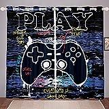 Loussiesd Gamepad - Cortinas de videojuego con tratamiento de ventana para niños, niños, niños, gamer, cortinas para ventana de graffiti grunge, decoración de habitación, 46 x 72