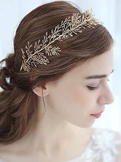 FXmimior - Tiara per capelli da sposa, accessorio per capelli a forma di rampicante con cristalli, colore: oro
