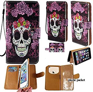 Universal PU Leather Strap Case/Purse/Clutch Fits Apple Samsung LG etc. Purple Flower Skull Head -Medium. Magic Sticker Attaches Phone to Wallet. Strong Adhesive/Easy Remove. Fits Models Below: