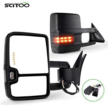 CTCAUTO Towing Mirrors Compatible with 1988-1998 Chevy GMC C1500//K1500 1988-2000 Chevy GMC C2500//K2500//K3500 Tow Mirrors with Power Adjusted No Heated LED Turn Signal Clearance Light Chrome Housing