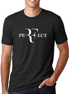 Wpcheng Summer Men Fashion RF Perfect Letters Design T Shirt Roger Federer Short Sleeve T-Shirts O-Neck Streetwear Tees Hiphop Tops (Black,XL)