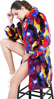 Women's Hip Hop Style Fashion Long Sleeve Lapel Faux Long Trench Coats Jacket,A,XL