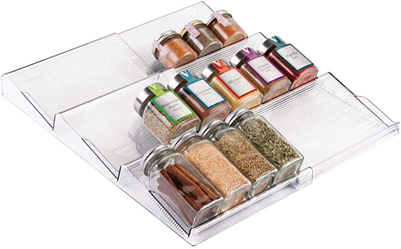 MDesign Adjustable Expandable Plastic Spice Rack Drawer Organizer For Kitchen Cabinet Drawers 3 Slanted Tiers For Garlic Salt Pepper Spice Jars Seasonings Vitamins Supplements Clear