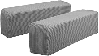 Hanhao Armrest Cover Ultra Soft Spandex Stretch Arm Cover for Recliners Sofas Chairs Loveseats Elastic Anti Slip Furniture Armrest Protector for Leather and Fabric Couch Set of 2 (Light Grey)