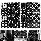 24 pièces Autocollants de Carreaux, Auto-adhésif de Carrelage Mural Sticker Bricolage, pour Cuisine, Salle de Bain Décoration à la Maison (10x10cm/3.9x3.9in)